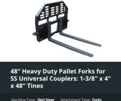 Skid Steer Attachments Pallet Fork